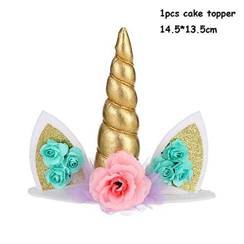 XCVB Tafel Decor Feestdecoratie Ballonnen Taarttoppers Kinderen Happy Birthday Feestartikelen Eenhoorn Verjaardag, 1 stuks taart topper