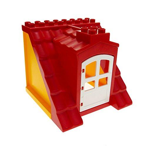 1 x Lego Duplo Dach gross rot gelb hell orange 8x8x8 Tür weiss Haus Bauernhof Scheune Puppenhaus für Set 5639 3778 31023 51383 51384c01