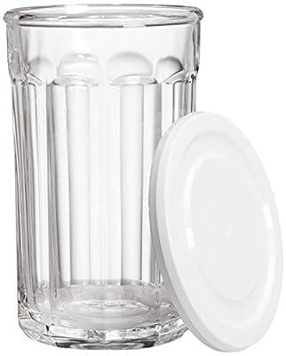 AmazonBasics Westridge 8-Piece (4 Glasses, 4 Lids) Heavy Duty Glass Drinkware and Storage Set with Lids, 21-Ounce
