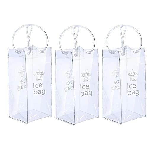 La bolsa de hielo para el vino plegable Claro vino de hielo Cubo con la manija para Pubs Restaurantes Inicio 3PCS transparente, clara vino de hielo bolsa