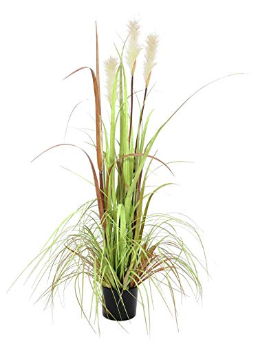 artplants.de Esparto Artificial con 3 panículas, Aspecto Real 120cm - Mata - Planta Artificial