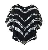 LEEBE Women's Plus Size Square Poncho Blouse (1X-5X) (2X, Tie Dye White/Black)