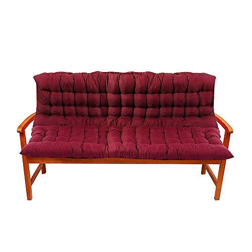 Ali Bench Cushion, Outdoor Bench Pad Antislip Zacht Tuinmeubelkussen met rugleuning voor Patio Tuinbank of Swing 2 Zitplaatsen 100x100cm Rood