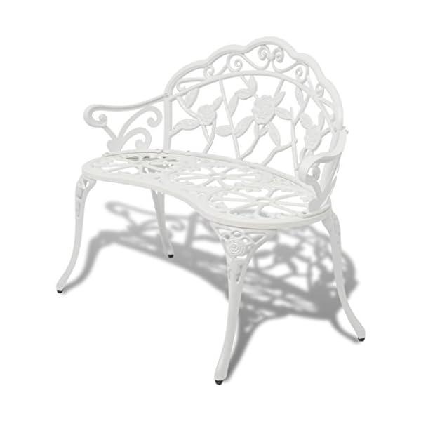 Tidyard Gartenbank 100 cm Aluminiumguss Weiß Garden Furniture 2 Seater Cast Aluminium Garden Bench Park Bench Iron Green…