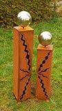 Gartendeko Zwei Rostsäulen Höhe 80cm + 60cm Stehle Edelstahlkugel