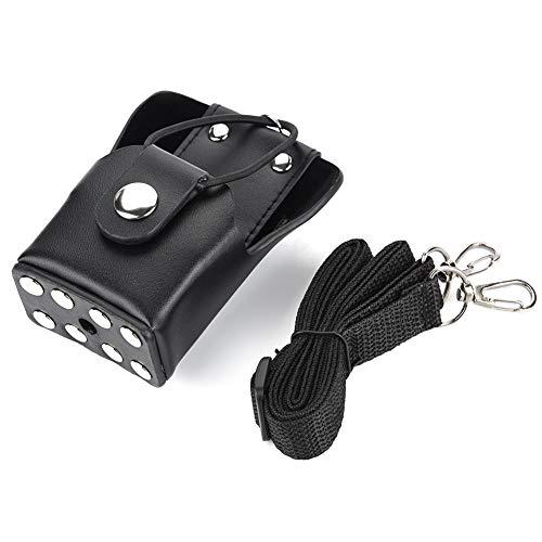 Leren tas met riem voor Motorola GP328plus / GP338plug / GP344 / GP388 Walkie Talkie Radio, voor brandweerlieden, bewakers, EHBO-personeel (zwart)