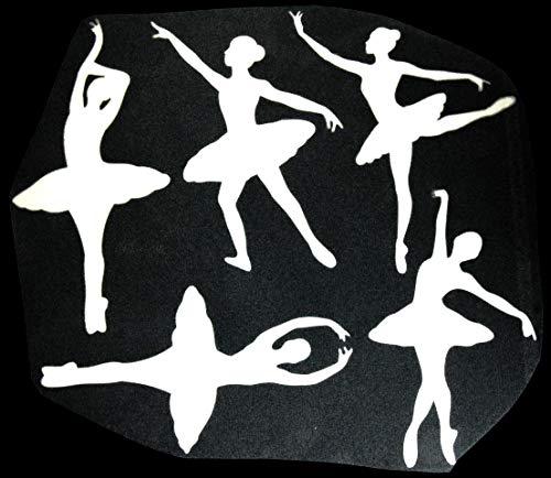 Bügelbilder-Set, Motiv: Tänzerinnen, Farbe: weiß, Setgröße: maxi, heißsiegelfähige Flockfolie auf Basis von Viskosefasern
