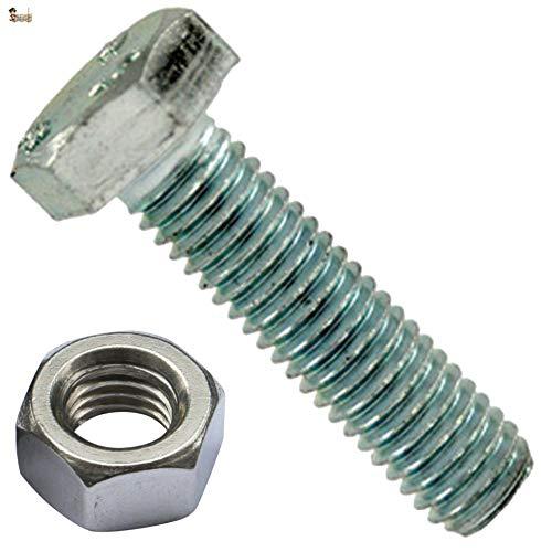 BricoLoco Tornillo hexagonal M10 DIN 933 con tuerca 934. Acero cincado calidad 8.8. Métrica M-10. Todo rosca completa hasta cabeza. Varios largos y envases. (25, M-10x40)