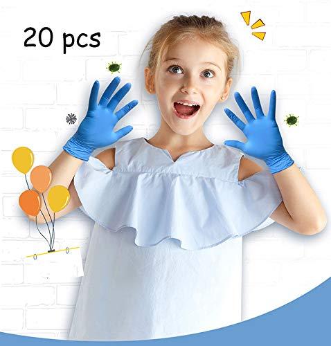 Sexdpm Handschuhe Nitril, Kleine Handschuhes Einweg Virenschutz for Kinder, Sicherheit Einweggloves Ölabweisend, Blau, 20 Pcs,S
