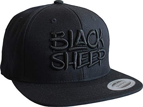 Cap: Black Sheep - Schwarzes Schaf - Flexfit Snapback - Urban Streetwear - Männer Mann Frau-en - Baseball-cap - Hip-Hop Rap - Mütze - Kappe - Basecap - Vintage Retro (Schwarz)