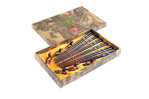 un par de palillos, dos soportes y dos cuencos dise/ño Larga vida Quantum Abacus: set de palillos chinos hechos de madera viene con soporte para los palillos y cuencos de cer/ámica en una caja de regalo CBS-S2-G-H06