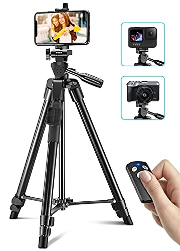 Cocoda Tripode para Movil, 126cm Tripode Cámara Extensible para Grabación de Video, Palo Selfie Tripod con Obturador Remoto Bluetooth para Estudio & Trabajo Compatible con iPhone, Samsung, GoPro