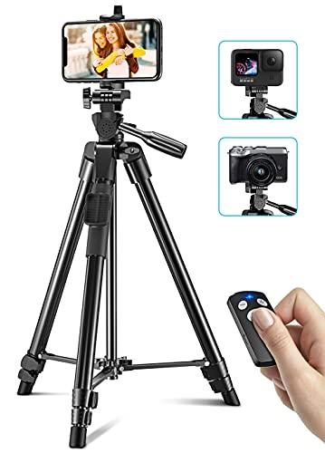Cocoda Treppiede Smartphone, 126CM Cavalletto per Smartphone Estensibile per Registrazione Video, Treppiede Fotocamera Leggero con Telecomando Bluetooth Compatibile con iPhone, Fotocamera