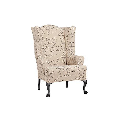 Surefit Home Dcor Pen Pal T-Cushion Wingback椅子一体式防滑罩,弹力形式配合,涤纶/氨纶,机可洗,翼,羊皮纸颜色