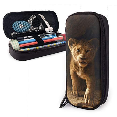 Simba Lion King Animation Federmäppchen für Erwachsene und Studenten, Buggy-Tasche, Reißverschluss, Leder, Stifteetui, Make-up-Tasche für Bleistifte, Stifte, Marker