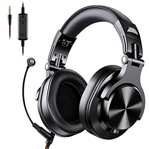 Auricular para Juegos PS4, Gaming Headset Auriculares DJ Estéreo A Través del Oído con Conexión De Cable De Auriculares con Micrófono para PC PS4 iOS Android,Negro