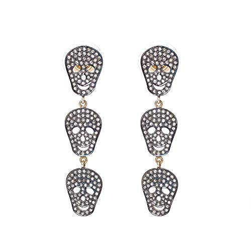 Trending - Pendientes de plata de ley 925 con forma de calavera de oro de 14 quilates con diamantes de talla rosa marrón natural de 1,65 quilates (claridad I2-I3)