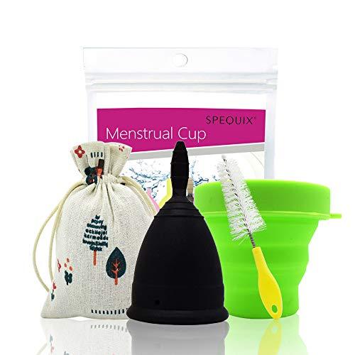 Spequix Menstruationstasse aus Silikon, tragbar (1 Stück schwarze Menstruationstasse + 1 Stück Tassen-Sterilisator) - S/L
