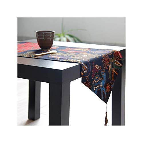 Rubyia Camino Mesa Comedor Decorativo, Elefante Table Runner Decoración de Mesa de Salon, Algodón Lino, 30 x 160 cm, Vistoso