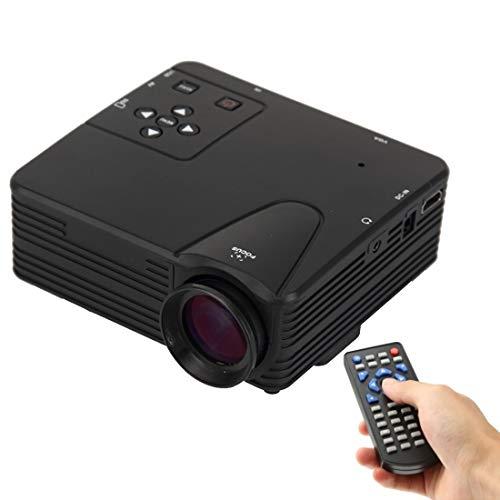 KINGONE Ruijuxin Manikin: H80(White), Support HDMI/VGA/AV/USB/SD Card, 80 lumens 1080P HD Multimedia Miniskirt Portable LED Projector (Color : Black)