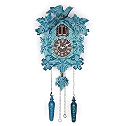Polaris Cuckoo Clock with Night Mode, Hand Carved Birds, Weights and Swinging Pendulum (Blue, 20 Size)