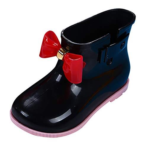 HDUFGJ Unisex-Kinder rutschfest Gummistiefel Schuhe Baumwollschuhe Stiefeletten Chelsea Boots Winterstiefel Reißverschluss Hoher Absatz Worker Boots28 EU(Schwarz)