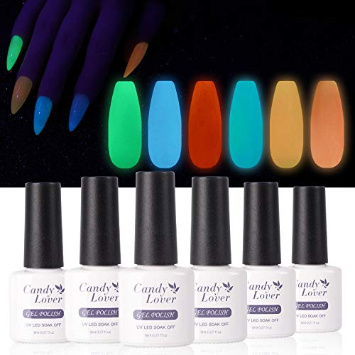 Candy Lover Fluorescent Gel Nail Polish, 6 Colors Glow in the Dark Selected Bright Christmas Night Party Set - UV LED Soak Off Dramatic Nail Gel Polish Night Party Varnish Kit