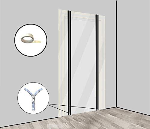Staubschutztür Folie 2er Set mit Reißverschluss Bautür [PE-Folie] 1,20 x 2,20 m inkl. doppelseitigem Klebeband