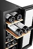 BODEGA43-12 Weinkühlschrank - Kleiner Weinklimaschrank mit 2 Zonen, 6-18 ºC, 33 Liter, 12 Flaschen, 4 Regaleinschübe, Vollglas-Designtür mit Touchpanel, Geräuscharm (43 dB) & vibrationsarm, Schwarz - 2