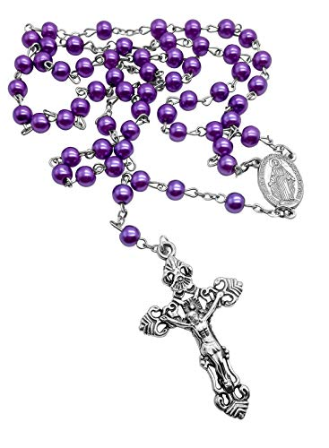 Nazareth Store Catholic Rosary 6mm Purple Pearl Imitation Beads Silver Miraculous Medal & Cross - Velvet Pouch