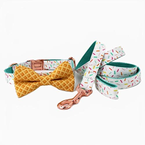 Girl Dog Collar Sprinkles Pattern Bow Collar Rose Gold Adjustable Pet Puppy Cat Collar Bow-collar bow leash,S