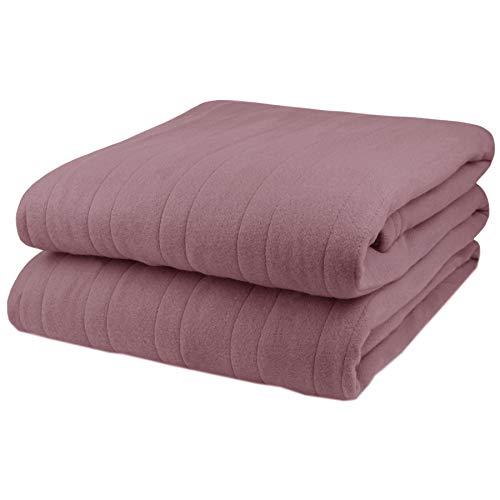 Biddeford Comfort Knit Fleece Electric Heated Warming Blanket King Blush Washable Auto Shut Off 10 Heat Settings