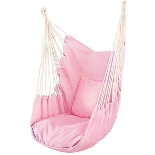 Hängande fåtölj, kan användas för sovrum, veranda, inomhus och utomhus, hängfåtölj, med en ringovansida, kan hängas upp överallt, gunga stolar (färg: rosa, storlek: 53 x 45 x 100 cm)
