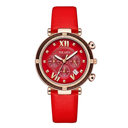 AxiBa Relógios Femininos Pulseira de Couro Relógio de Pulso Caixa Redonda Moda Relógios Femininos, C