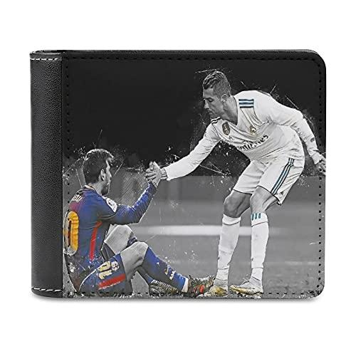 Marco de fotos de fútbol negro León Messi Barcelona Cristiano Ronaldo Real Madrid Fútbol Marco de fotos de cuero PU Cartera embrague, puede acomodar tarjetas de crédito, dinero en efectivo, etc