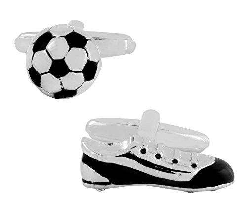 Die Jewelbox glänzend Fußball Schuh Emaille Schwarz Silber rhodiniert Messing Manschettenknöpfe Paar für Herren