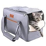 DADYPET Haustiertasche, Transporttasche für Katzen und kleine Hunde, Katzentransportbox & Hundebox für den Transport von Katze & Hund zu Fuß, im Auto oder Bahn, 44cm x 23cm x 30cm (grau)