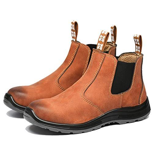 ZYFXZ Herrenhändler Sicherheitsstiefel, Wasserabweisende Sicherheitsarbeitsschuhe, Industrie- und BAU-Knöchel-Sicherheitstrainer - Mikrofaser-Leder/Stahl-Zehen-Kappe Schuhe Bottes de sécurité