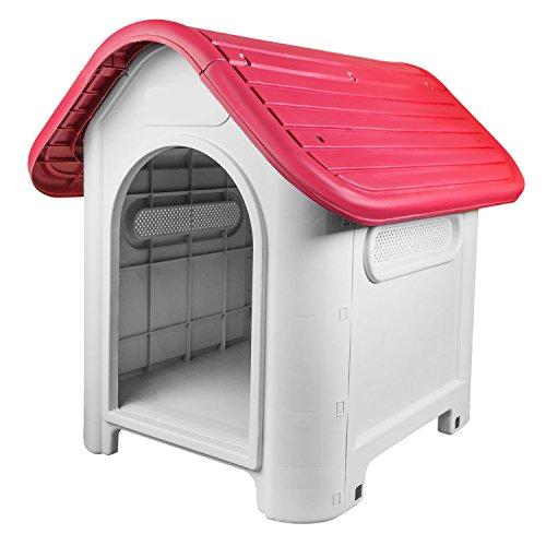 RayGar® Caseta de plástico para perro o gato, resistente a la intemperie, para interiores y exteriores, color rojo
