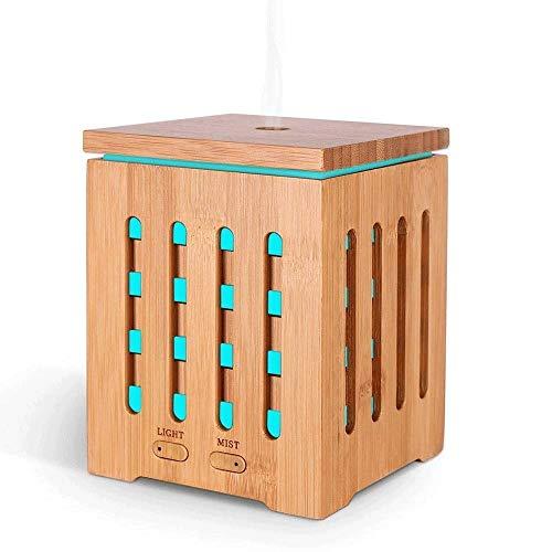 TTEWS Aromatherapie machine Home Office Silent Sprayer 7 kleuren nachtlampje houtnerf luchtbevochtiger