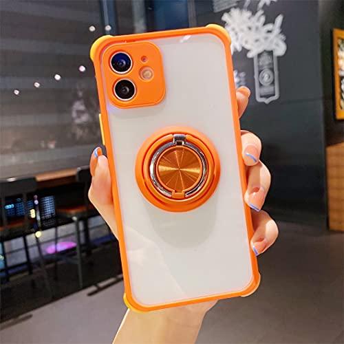 Jacyren Funda para iPhone 12 Pro Max, ultrafina, transparente, para iPhone 12 Pro Max, de TPU, con soporte de doble anillo de 360°, para soporte magnético de coche, color naranja