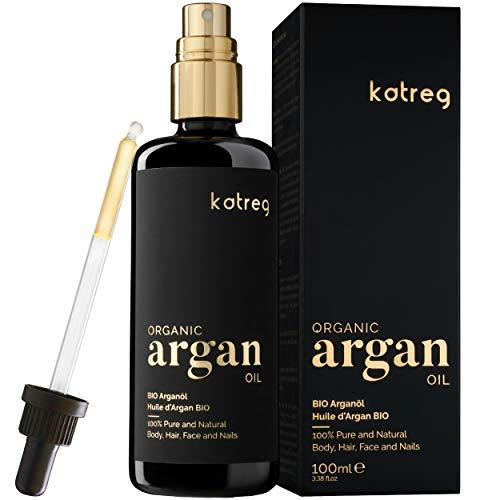 KATREG Aceite de Argán Orgánico Argan Oil - Aceite Natural, Hidratante y Nutritivo para Piel, Cabello, Uñas - Prensado en Frío Marruecos - Rico en Vitamina E y Antioxidantes - 100ml