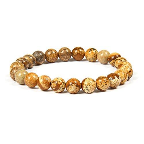 Good.Designs Chakra Perlenarmband aus 8 mm Meeressediment Jaspis Natursteinen (beige) beigefarben Sandfarben Chakraarmband Frauenarmand Herrenarmband beigesarmband armbandbeige Yogaarmband