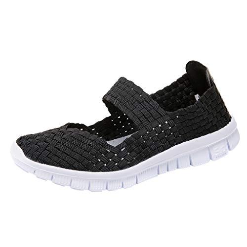 LILIHOT Frauen gewebt atmungsaktiv Gummiband EIN Pedal Turnschuhe Freizeitschuhe Laufschuhe der Frauen Student Jogging-Schuhe fliegen gewebte Schuhe Kissen Turnschuhe Fitness-Schuhe