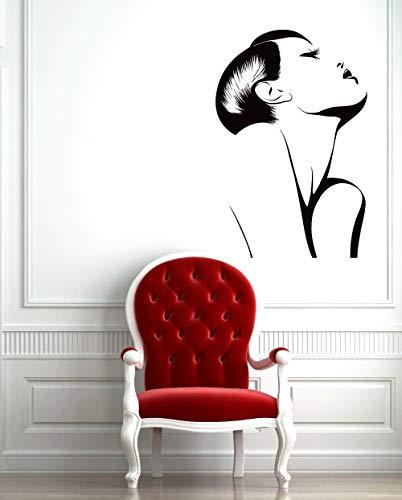 Calcomanía de vinilo Moda Sexy Maquillaje seductora chica mujer barbería peluquería salón de belleza Peluquería dormitorio Decoración Etiqueta de la pared mural cartel