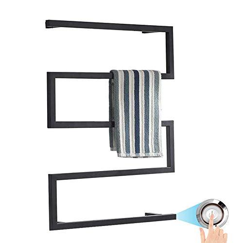 Verwarmde handdoekradiator voor Badkamers Wall Mounted, Elektrische Handdoek Warmer met LED Schakelaar voor Badkamer, hard-wired en Plug-in optie, Black,Plugin