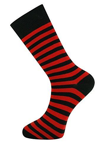 Mysocks Calcetines de diseño de tobillo unisex Raya rojo negro