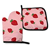 XCNGG Guantes para microondas Strawberries Oven Mitts Pot Holders Set, Heat Resistant Kitchen Waterproof with Inner Cotton Layer for Cooking BBQ Baking