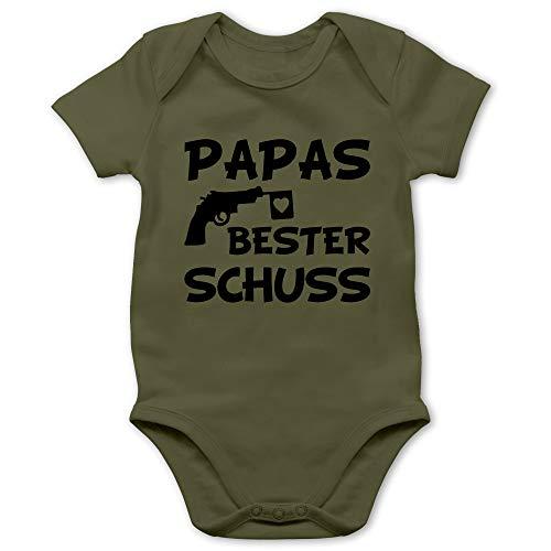 Vatertagsgeschenk Tochter & Sohn Baby - Papas Bester Treffer - 1/3 Monate - Olivgrün - Baby Body mit sprüchen - BZ10 - Baby Body Kurzarm für Jungen und Mädchen