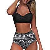 Bikinis for Women High Waisted Swimsuits Retro Halter Ruched Twist Front Swimwear Tummy Control Two Piece Bathing Suits